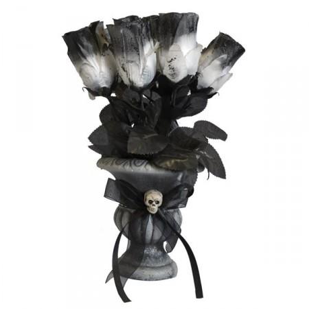 Vase gothique - roses blanches et noires - H.30 cm