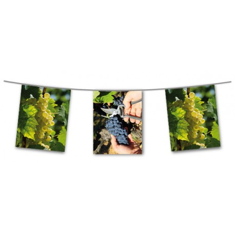 Guirlande Vendanges - 10 fanions 21 x 29  cm - papier - Long. 440cm