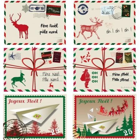 Cartes postales de NOEL x 3 à suspendre ou à coller - Carton RV