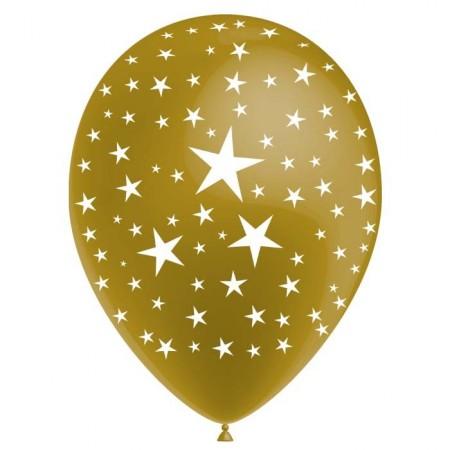 Pochette de 8 ballons Or métal - motif ''Etoiles'' - Diam. 30 cm