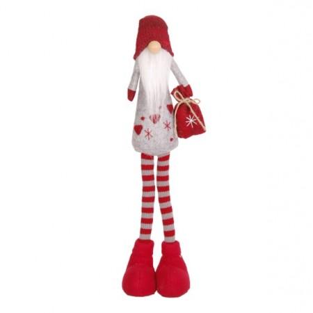 Père Noël Bonnet  et  Longue Barbe (Sac Rouge - debout) 13x8x52