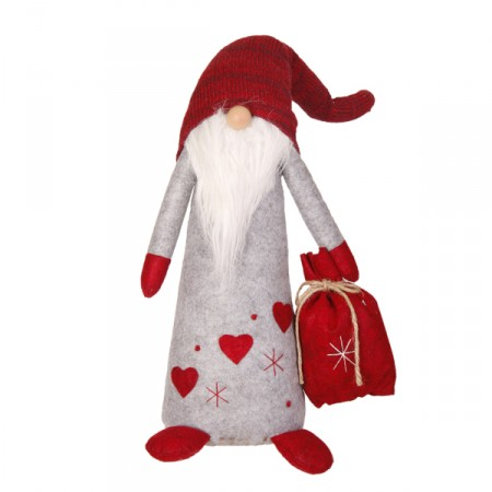 Père Noël Bonnet  et  Longue Barbe (Sac Rouge - assis) 26 x 16 x 67