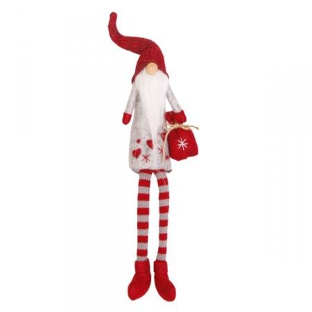 Père Noël Bonnet  et  Longue Barbe (Sac Rouge - assis)  15 x 7 x 58