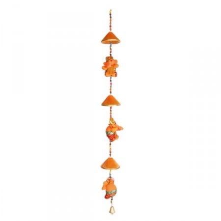 Suspension elephants  - perle et tissus - haut: 80 cm