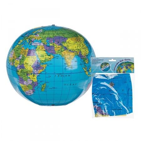 Ballon globe terrestre a gonfler - Diamètre 30 cm