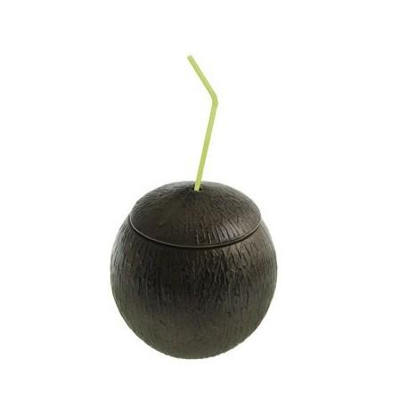 Noix de coco avec couvercle et paille - plastique - diam.10 cm - H.11cm