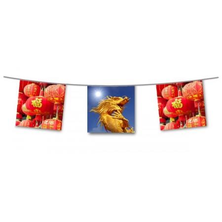 Guirlande Asie NEW  - 10 fanions 21 x 21 cm - papier - Long.420cm