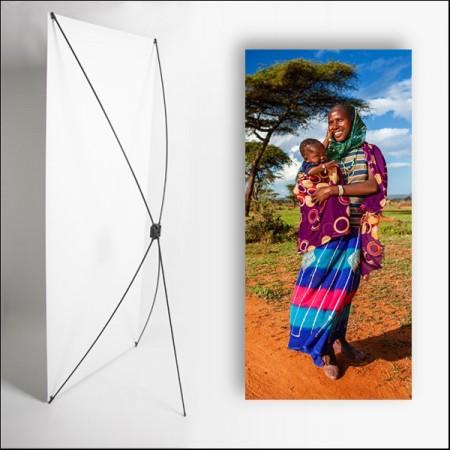 Kakemono Afrique Femme  - 180 x 80 cm - Toile M1 avec structure  X- Banner