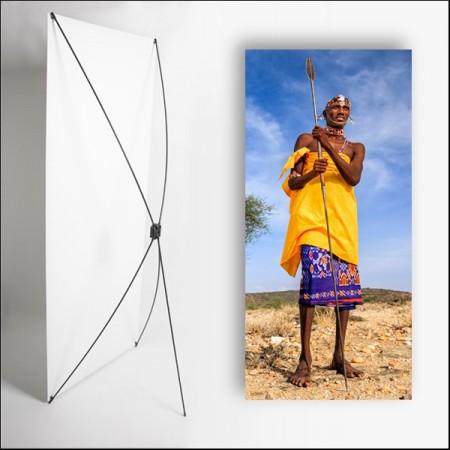 Kakemono Afrique Homme  - 180 x 80 cm - Toile M1 avec structure  X- Banner