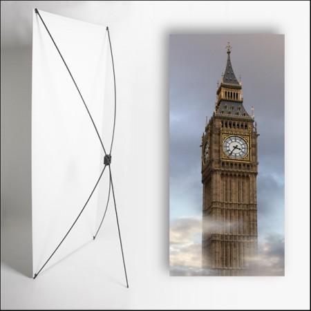 Kakemono Angleterre Big Ben - 180 x 80 cm - Toile M1 avec structure  X- Banner