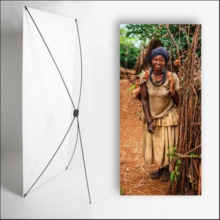 Kakemono Afrique Femme AF  - 180 x 80 cm - Toile M1 avec structure  X- Banner
