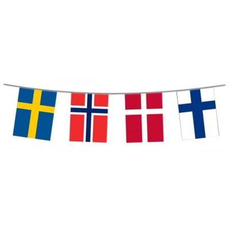 Guirlande Scandinavie (Suède,Finlande,Norvège) - 12 fanions plast. - Long. 480cm