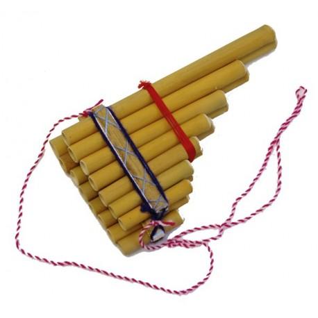Flute de pan - Artisanat d'Amerique du Sud - Bambou - 20 X 21 cm