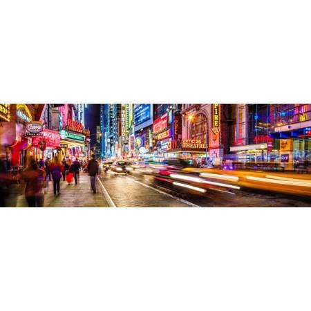 Panoramique New York de nuit 90 x 30 cm sur chevalet - Forex 3mm -  ignifuge M1