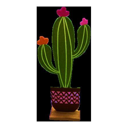 Cactus en feutrine socle bois - Haut 31cm