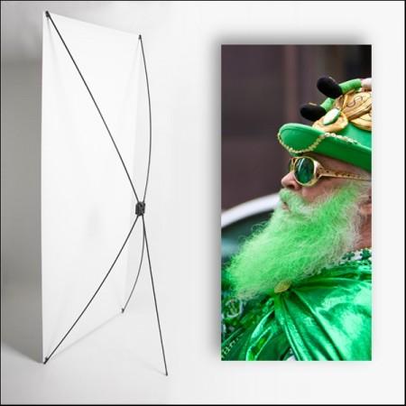 Kakemono St Patrick barbe verte - 180 x 80 cm - Toile M1 avec structure X- Banne