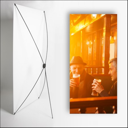 Kakemono Irlande Pub - 180 x 80 cm - Toile M1 avec structure X- Banner