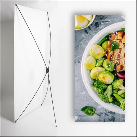 Kakemono Gastronomie - 180 x 80 cm - Toile M1 avec structure  X- Banner