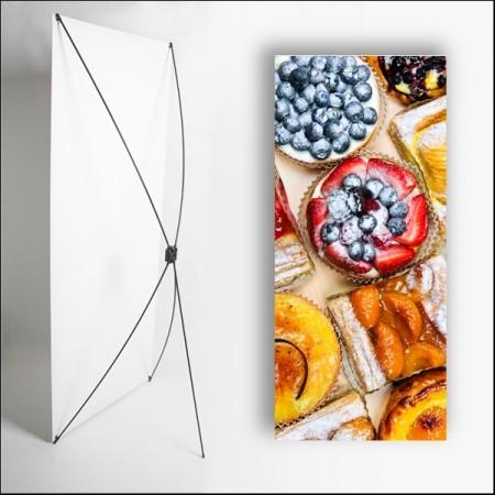 Kakemono Gastronomie Dessert - 180 x 80 cm - Toile M1 avec structure  X- Banner