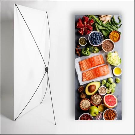 Kakemono Gastronomie 1 - 180 x 80 cm - Toile M1 avec structure  X- Banner
