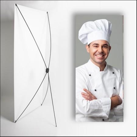 Kakemono Chef - 180 x 80 cm - Toile M1 avec structure  X- Banner