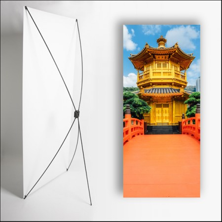 Kakemono Asie Temple 180 x 80 cm - Toile M1 avec structure  X- Banner