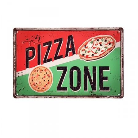 Plaque metal 3D Pizza - 20 x 30cm