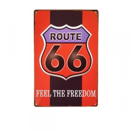 Plaque Métal Route 66 - 20 x 30cm