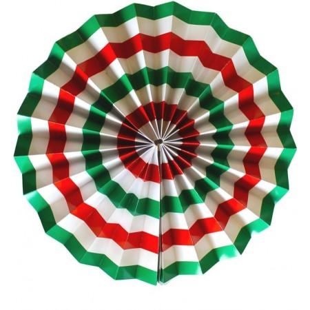 Eventail vert - blanc - rouge  - papier - Diam. 30 cm