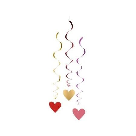 Suspensions métallisées cœur rouge  - lot de 3 - Haut 85 cm