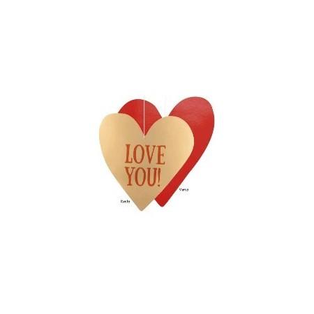 Découpes cœur rouge r/v 38 cm