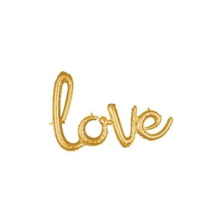Ballon mot LOVE doré – 78 x 53 cm
