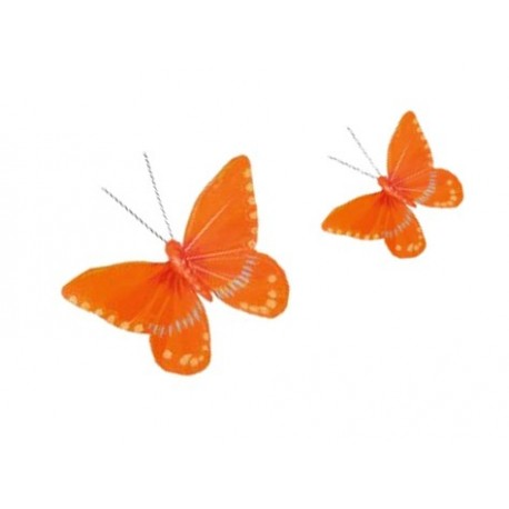 Papillons Oranges sur pince  18x8 cm - lot de 2