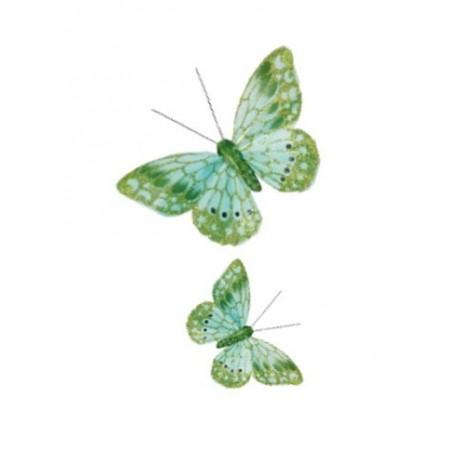 Papillons verts sur pince  18x8 cm - lot de 2