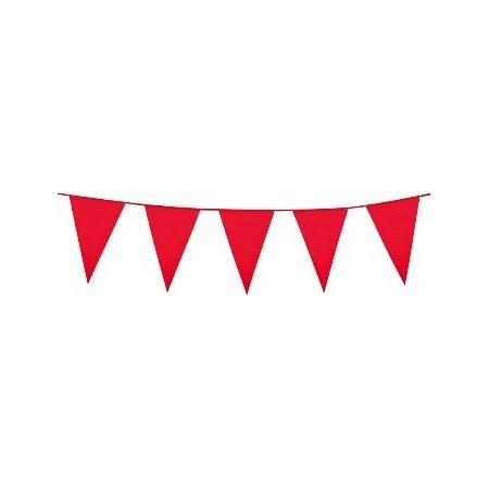 Guirlande grands pavillons rouges 45 x30 - Plastique - 10 m