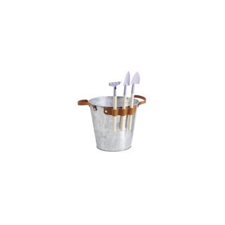 Cache pot en zinc anses en cuir + 3 accessoires de jardin  / H. 17,5 cm