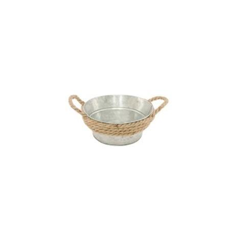 Pot en zinc avec anse corde - 16x16x7cm