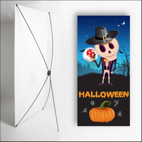 Kakemono Halloween 1 - 180 x 80 cm - Toile M1 avec structure  X- Banner