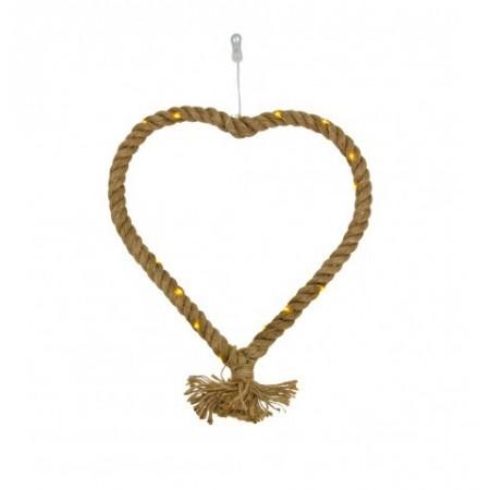 Coeur en corde de jute et leds  30 cm x 30 cm (fonctionne avec 3 piles AA)