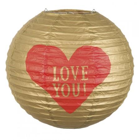 Lampion doré Love You - papier / Diam.25 cm