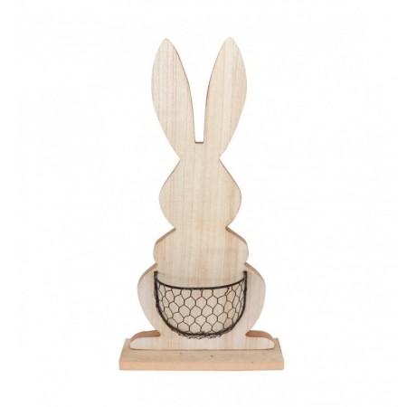 Lapin en bois  avec panier en métal 24 x12 48 cm