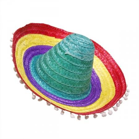 Sombrero avec pompoms - paille multicolore - Taille adulte