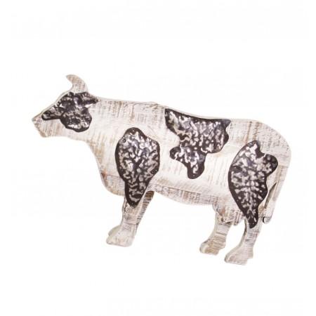 Vache en bois et fer - 48 x 29 cm