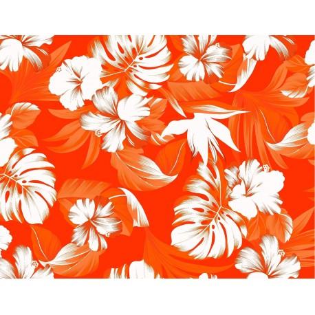Tissu Hibiscus orange - Larg. 140cm - coton  (vendu au mètre)