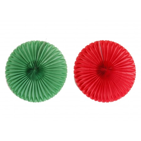 lot de 2 eventails -1 rouge et 1 vert - diamtre 35 cm - papier