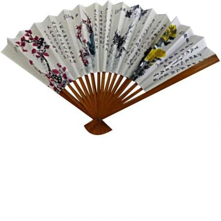 Éventail chinois en papier décoré H25 cm-L43 cm