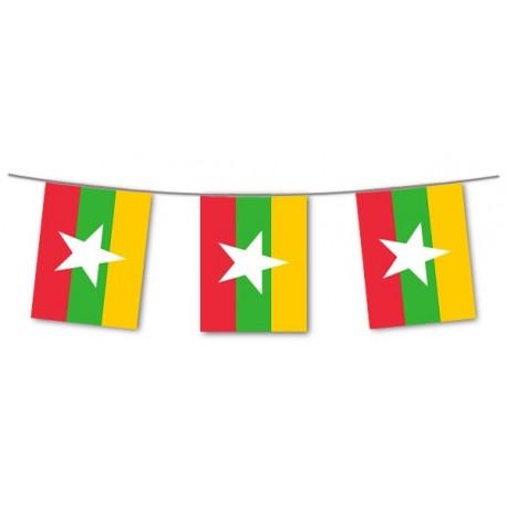 Guirlande Birmanie  - 10 fanions 21 x 21 cm - papier - Long.420cm