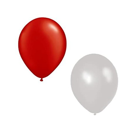 Ballons rouges et blancs x 12 - Diam. 29cm