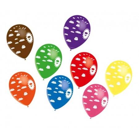 Ballons multicolores motif Soleil Diam. 29 cm - lot de 8