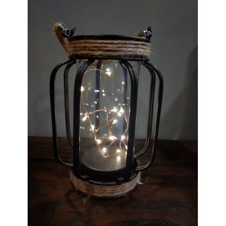 Lampe en fer et verre - 12x18cm (3 piles LR3 non comprises)
